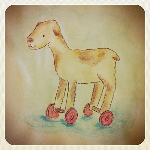 Dog on wheels watercolor.