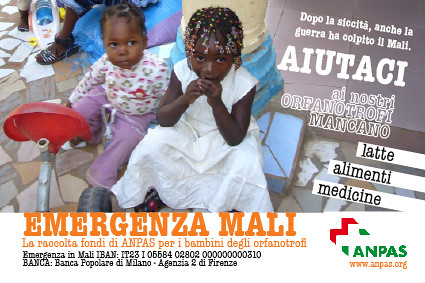 Emergenza Mali - la raccolta fondi Anpas per gli orfanotrofi