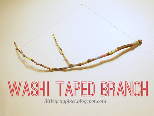 diy washi taped branch