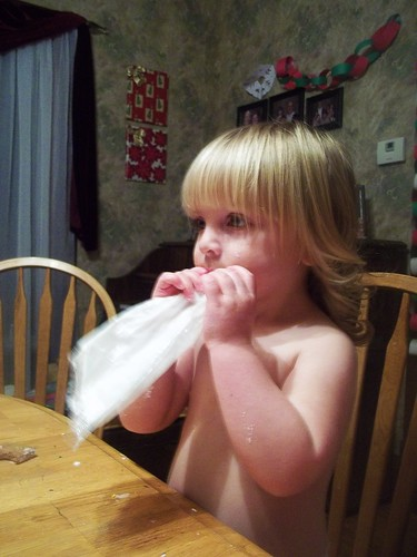 Eating icing right out of the bag