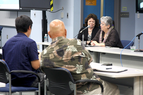 <p>University of Hawaii President M.R.C. Greenwood, right, Executive Vice President for Academic Affairs/Provost Linda K. Johnsrud at the University of Hawaii Maui College community forum.</p>