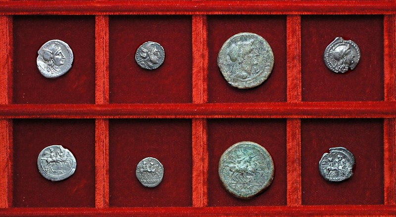 RRC 098(A) LT Luceria silver and sextans, RRC 98(B) LT Luceria anonymous quinarius, Ahala collection, coins of the Roman Republic