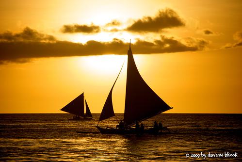 sunset clouds boats philippines sail boracay ph malay whitesandbeach blueyellow superfreaky