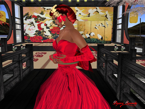 Paris METRO Couture: Kimono Wedding-Red Lotus Pond Gown