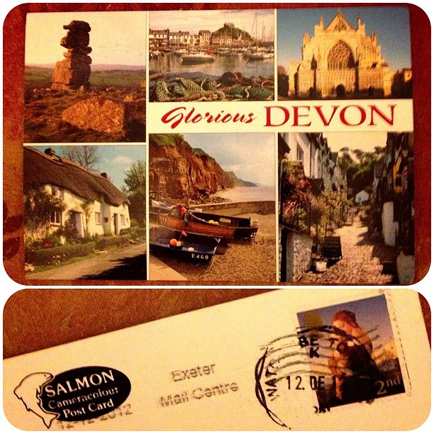 I took part in a s#postcard #swapbot #date #devon #snailmail