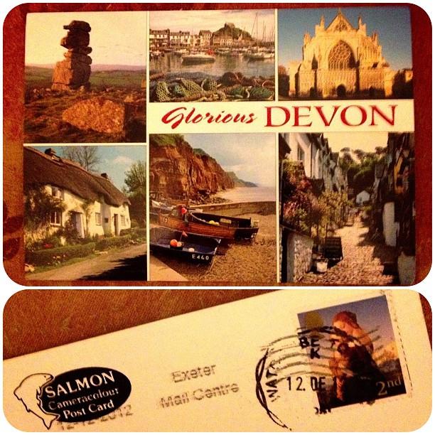 I took part in a s#postcard #swapbot #date #devon #snailmail