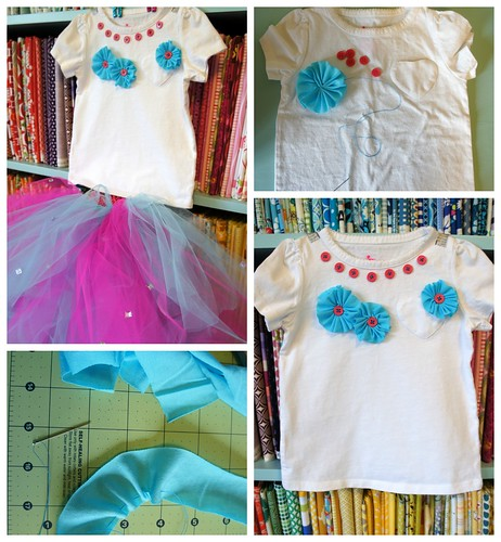 knit flower applique tshirt