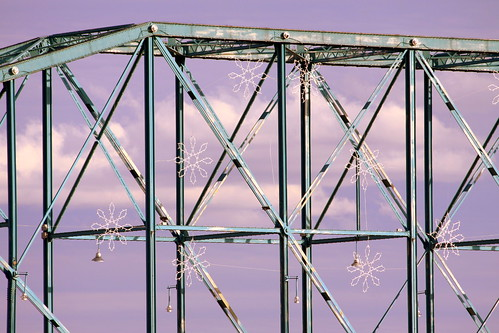 Walnut Street Bridge with Winter Snowflakes