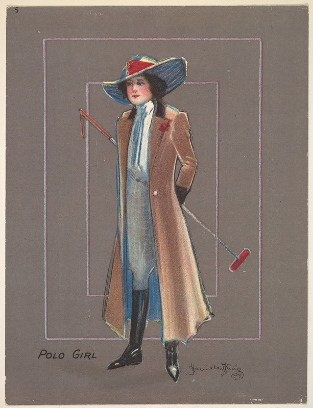 drawing of woman with hat + overcoat holding a polo mallet (colour)