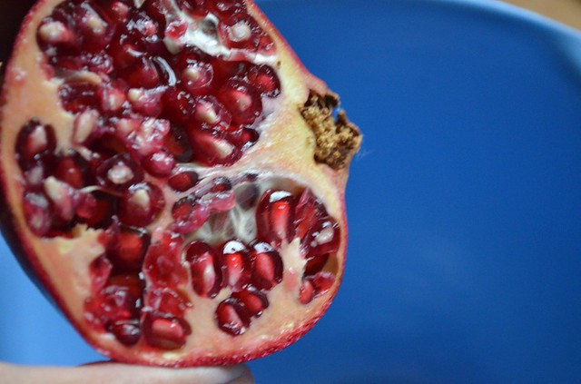 open face of pomegranate