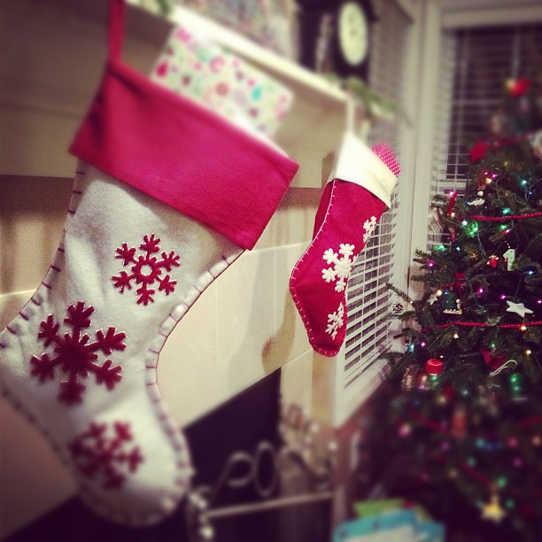 The stockings were hung by the chimney with care ...
