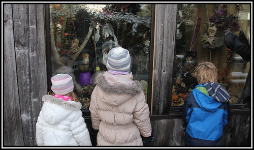 Some little ones admiring the delicious treats in the shop window