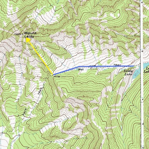 Mount Leidy Map, Bridger-Teton National Forest, Wyoming
