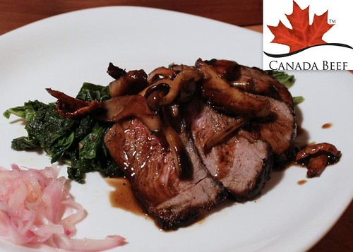 Chef Jonathan Korecki's Pan-roasted Ribeye w/ Wild Mushrooms, Blistered Kale, Lime-Pickled Shallots #LoveCDNBeef