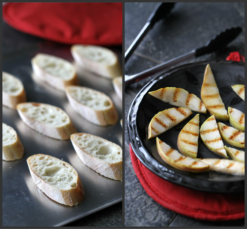 Grilled Pear, Goat Cheese & Prosciutto Crostini Recipe