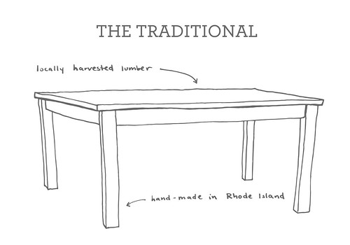 Hope's Woodshop table illustration