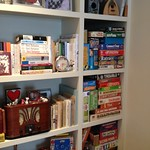 Finally organizing our board games in our custom book/game shelf !! #FishbowlReno