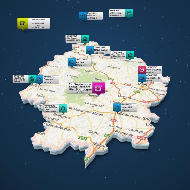 Carte événements Miss Bourgogne 2013