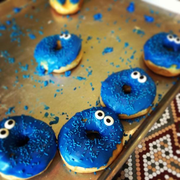 D is for donut. #cookiemonster #breakfast