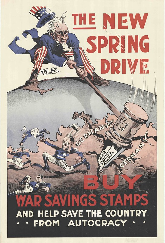 satricial illustration of Uncle Sam hammering stake in to middle of Europe