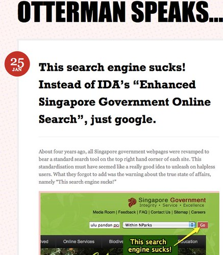 "This search engine sucks! Instead of IDA's ""Enhanced Singapore Government Online Search"", just google. « Otterman speaks…"
