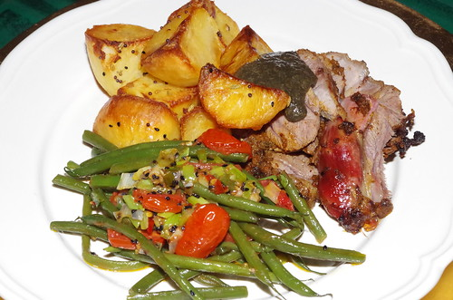 Indian-spiced roast lamb, beans and tomatoes and panchporan roast potatoes, with mint sauce by La belle dame sans souci