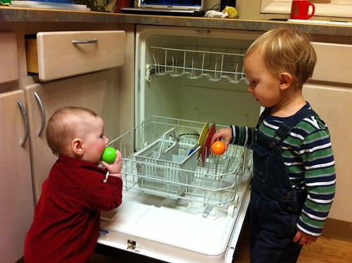Franklin and Evan Helping with the Dishwasher