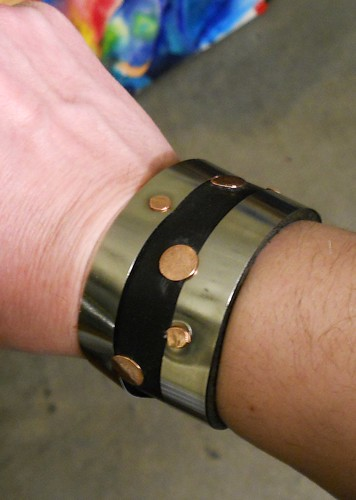 bracelet spring steel, leather, copper by Wolfgang Schweizer