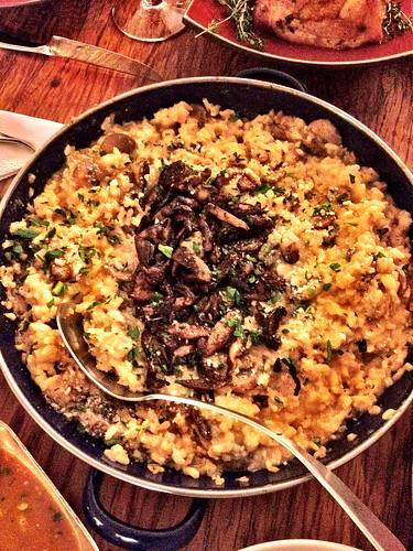 Mushroom risotto topped w crispy shiitakes