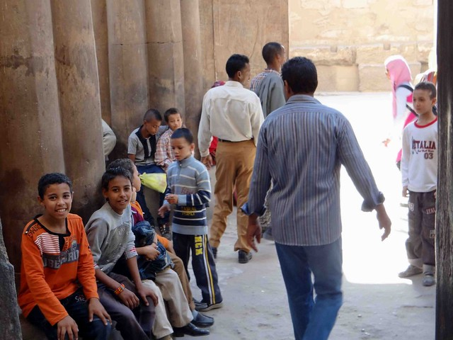 School kids at Luxor Temple