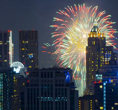 [Free Images] Architecture, City / Town, Large Buildings, Fireworks, Night View ID:201301062000