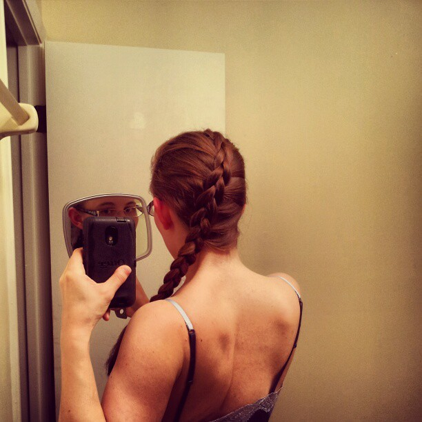 I did this inverted aka dutch braid with out a mirror. Not too bad right!? I tried to swoop it to the side. #hairstyle #hair #braid #invertedfrenchbraid #dutchbraid #katniss