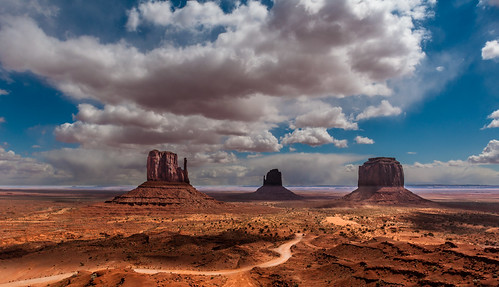Three Buttes in Monument Valley