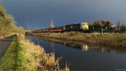 ireland winter reflection clouds train canal rainbow rail maynooth pathway irishrail kildare dloc rpsi topazadjust classie071
