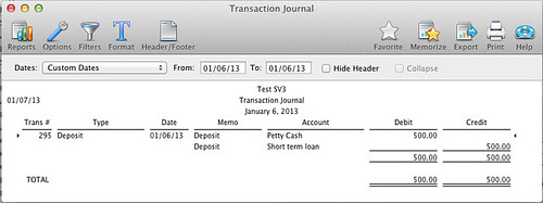 transaction journal