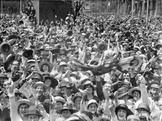 Celebrating in Martin Place, Sydney