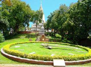 Garden Clock in Front of Wat Phnom