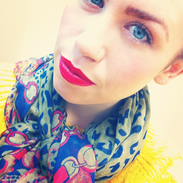 Resolution #1: Wear red lipstick more often! Currently wearing @mark_girl Make It Rich Lip Crayon in Hot Sauce!