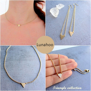 gold triangle geometric earrings and necklace collection