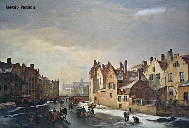 vue hivernale de Gent en Belgique lors de la vague de froid de janvier 1838 météopassion