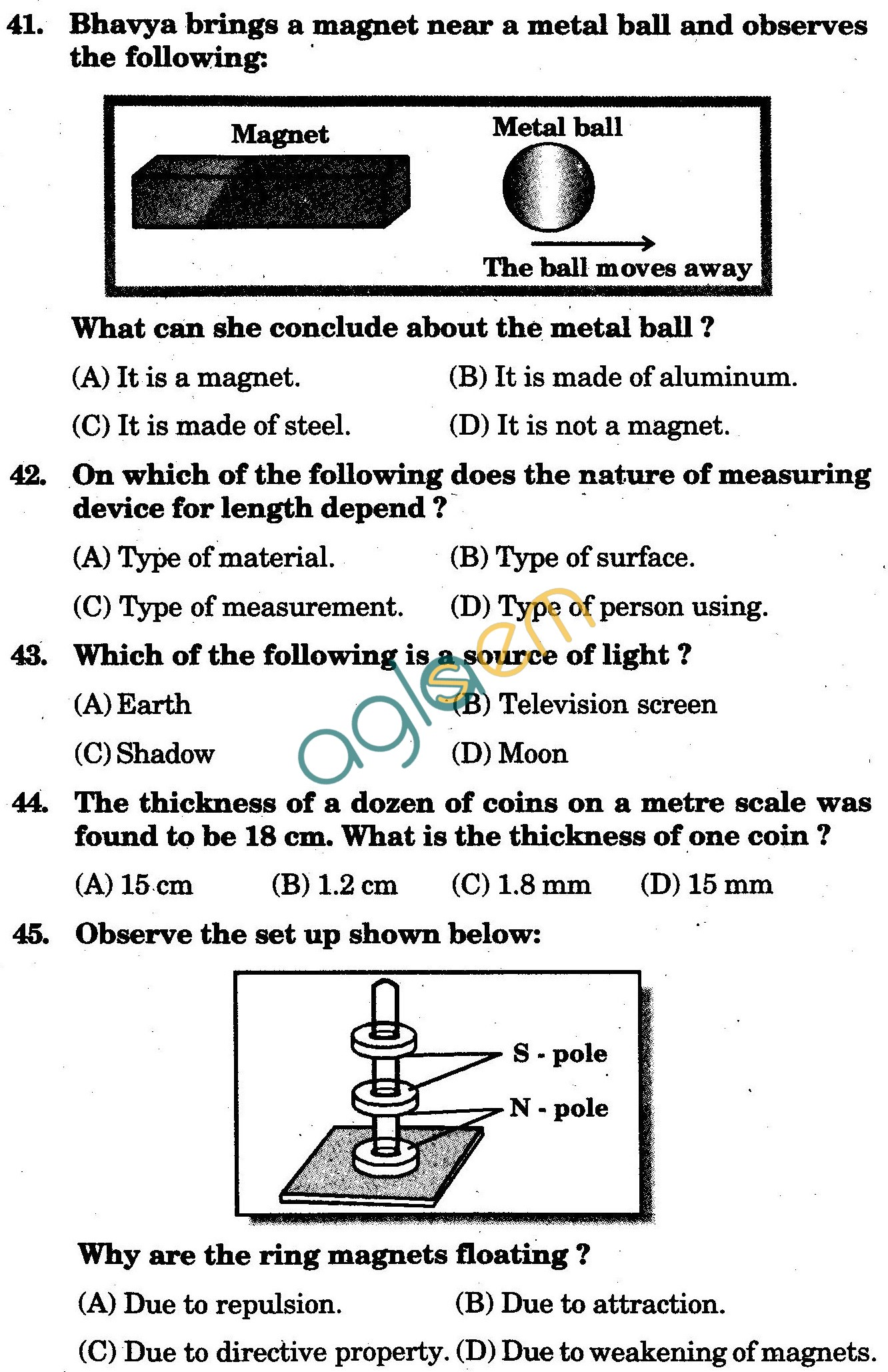 NSTSE 2010: Class VI Question Paper with Answers - Physics