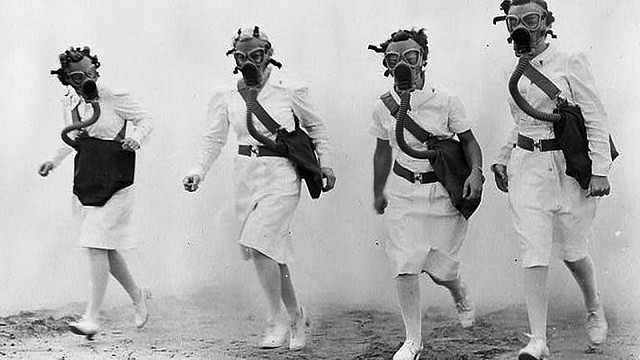Gas Mask Nurses WWII WAC