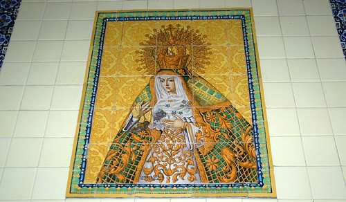 Queen of Heaven, ornate patterned tile, yellow, orange, white, green, blue, hotel wall, signed Seranka Serna, Sevilla, Trianya, South Mazatlan, Mexico by Wonderlane