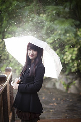 [Free Images] People, Women - Asian, Umbrella, Rain, Coat ID:201302051400