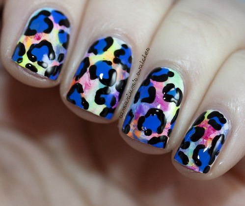Colorful Freehand Leopard Nail Art (2)