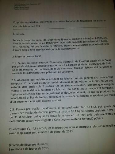 Proposta negociadora presentada al ICS - Mesa sectorial de Salut 1 de febrer 2013