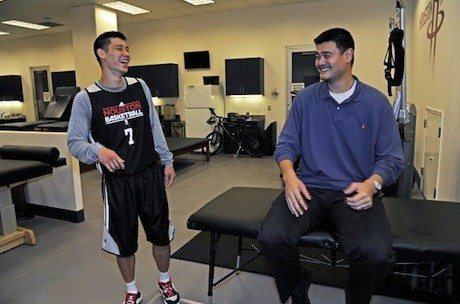 February 5th, 2013 - Yao Ming and Jeremy Lin meet before Houston's game against Golden State