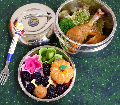 Rudolph the Quail Egg Christmas Chicken and Rice Bento by sherimiya ♥