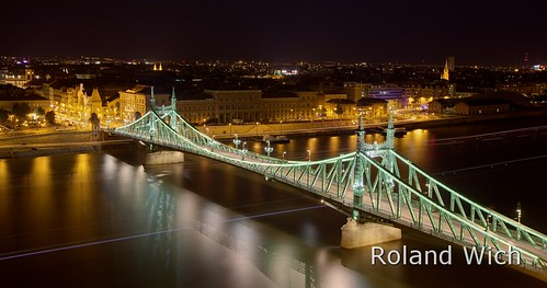 bridge light green night river lights freedom long exposure budapest ungarn danube szabadság híd donau hongarie nungary