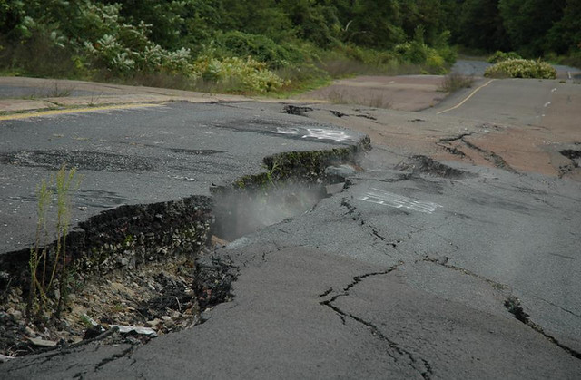 Cracked highway from subsurface coal fire (Route 61, near Centralia, Pennsylvania, USA) 3